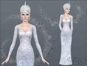 Sims 3 — The Snow Queen by BEO — Queens so capricious, especially snow. This dress is adorned with frost pattern and