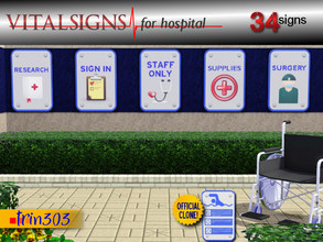 Sims 3 — Vital Signs for Hospital by trin3032 — Hospital-type signs for your town! 34 individual signs. $1 each. TSRAA,