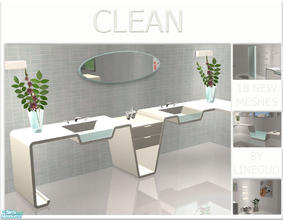 Sims 2 — Clean - Bathroom - Mesh set by linegud — A very versatile modern looking bathroom, made of several counter