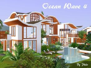Sims 3 — Ocean Wave 4 by philo — Built around a large swimming pool, this Tropical villa, with its double sunken and open