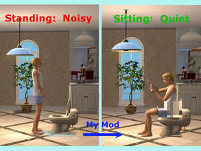 Sims 2 — Male Sims Sit To Pee - QUIETLY!!! by eliseluong2 — This global mod eliminates all of the irritating urine noise