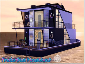 Sims 3 — Frederikas Houseboat by ziapina — Live on a modern houseboat for 3 Sims. This charming and cozy place is fully