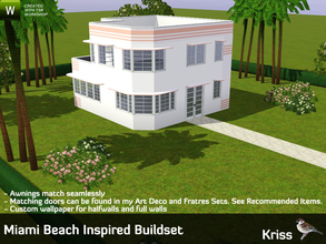 Sims 3 — Miami Beach Inspired Buildset by Kriss — This a build set inspired by the art deco buildings on Ocean Drive in