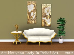 Sims 3 — Art Nouveau Lady In Relief Set by ziggy28 — A set of two Art Nouveau ladies in relief. Game mesh. Not
