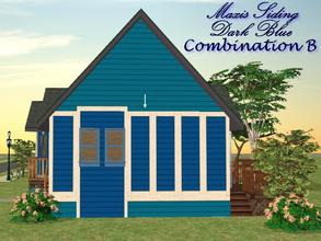 Sims 2 — Maxis Siding-Dark Blue-Trim Combination B by allison731 — Recolored Maxis siding wall + added trim on 4 sides.