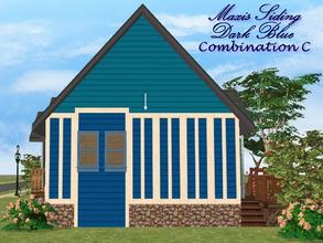 Sims 2 — Maxis Siding-Dark Blue-Trim Combination C by allison731 — Recolored Maxis siding wall + added trim on 5 wall