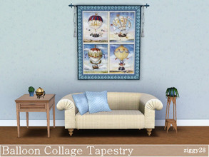 Sims 3 — Balloon Collage Tapestry by ziggy28 — A balloon collage tapestry in shades of blue. Custom mesh by Murfeel used