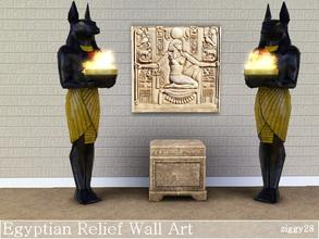 Sims 3 — Egyptian Relief Wall Art by ziggy28 — An Egyptian relief wall art picture in stone texture. Not recolourable.