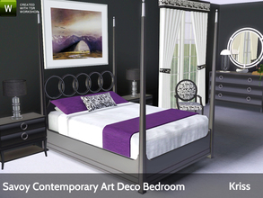 Sims 3 — Savoy Contemporary Art Deco Bedroom by Kriss — A bedroom in a contemporary art deco style. Geometric shapes,