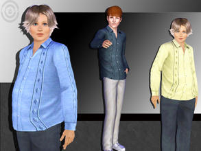 Sims 3 — Large Patter Stripe by pizazz — Men's long sleeve shirt with decorative designs in front and down the arms. Set