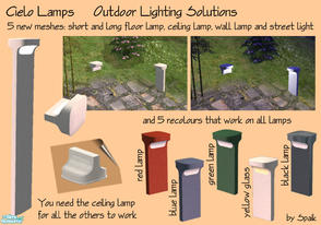 Sims 2 — Cielo Outdoor Lights by Spaik — Five new modern lamps for outdoor lighting: ceiling lamp, wall lamp, long and