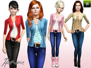Sims 3 — TEEN ~ Season-Spanning Cardi / Jean by Harmonia — 4 Different Variations. Recolorable Season-spanning cardigan