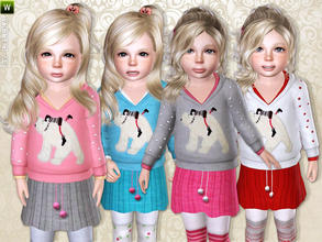 Sims 3 — Polar Bear Shirt by lillka — Polar bear shirt for toddler girls. Everyday/Formal recolorable I hope you like it