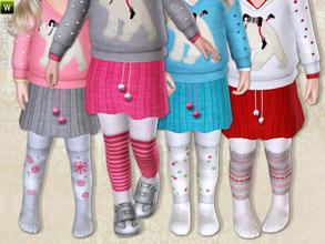 Sims 3 — Skirt withTights & Leg Warmers by lillka — Skirt with tights and cute leg warmers for toddler girls.