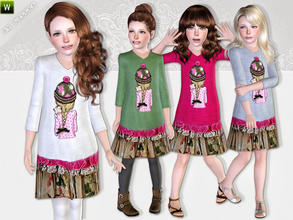 Sims 3 — Floral Dress by lillka — Floral dress with cute design print on the chest. Everyday/Formal Floral skirt not