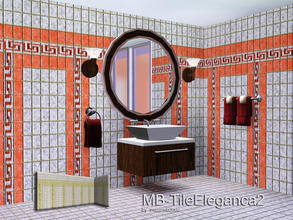 Sims 3 — MB-TileEleganca2 by matomibotaki — MB-TileEleganca2, new elegant tile walls with 4 recolorable palettes and 2