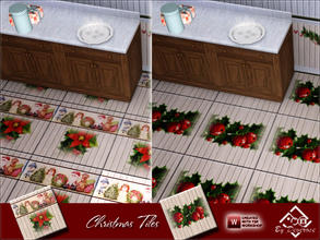 Sims 3 — Christmas Tiles by Devirose — Not recolorable,Christmas theme^^ 2 Tiles in 1 file-Base Game compatible,no need