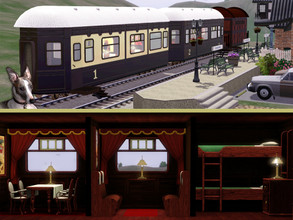 Sims 3 — Train Car Furniture Set by Cyclonesue — A set of seating, dining and bedroom cabin furniture for trains and