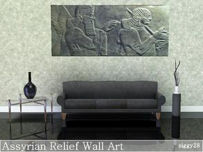 Sims 3 — Assyrian Relief Wall Art by ziggy28 — A very ancient relief in dark stone. Custom mesh by Adonispluto used with