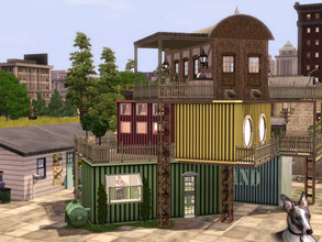 Sims 3 — Disused Goods Yard by Cyclonesue — An old goods yard can make a novel home for Sims! This eclectic mix of