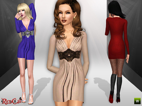 Sims 3 — Knit Belt Detailed Dress by RedCat — 2 Recolorable Channels. 3 Variations Included. Game Mesh.