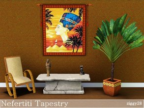 Sims 3 — Nefertiti Tapestry by ziggy28 — A very colouful tapestry wall hanging of the queen of Egypt Nefertiti. Custom