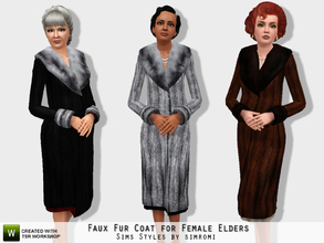 Sims 3 — Faux  Fur Coat for Elder Female by simromi — You can look rich and famous in this luxurious faux fur coat. Comes