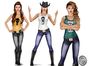 Sims 3 — Country Cowgirl set 01 by pizazz — Every country girl loves a great pair of jeans and comfortable tank top. And