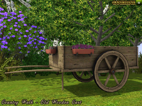 Sims 3 — Country Walk. Old Wooden Cart. by Canelline — Country Walk. Old wooden cart with flowers, a nice way to decorate