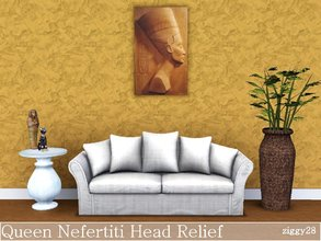 Sims 3 — Queen Nefertiti Head by ziggy28 — The head of Queen Nefertiti in a relief wall art painting. Not recolourable.
