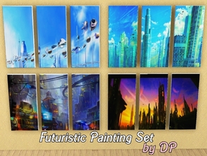 Sims 3 — Futuristic Painting Set by DP by DollyPink2 — Futuristic Paintings Set by DP. -Set of 4 paintings, each with 3