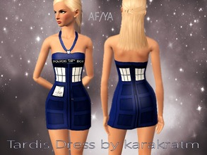 Sims 3 — Tardis Dress by karakratm — Mini dress made to look like the Tardis from Doctor Who. Enjoy!