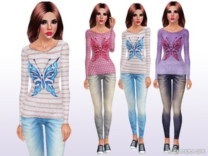 Sims 3 — Fly Away by Alexandra_Sine — Butterfly stencil jumper with denim jeans for your young-adult and adult female