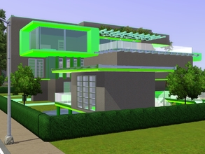 Sims 3 — futuristic modern green home by RamboRocky90 — New futuristic green color shemed house. The lot contains, a lake