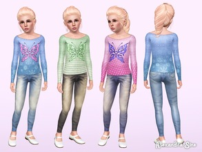 Sims 3 — Fly Away [CHILD] by Alexandra_Sine — A cute butterfly stencil knit top and denim jeans combo for your children