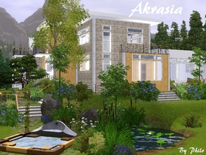 Sims 3 — Akrasia I by philo — With its mixt of natural stones and light wood, this modern home is made for Sims who loves