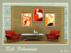 Sims 3 — Red Bohemian by philo — Three original Paintings from Sylvia Ji on one file.