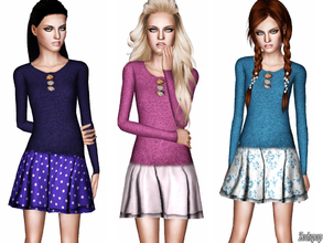 Sims 3 — (TEEN) Embellished Cashmere Pullover With Layered Skirt by zodapop — Pretty embellishment dresses up the look of