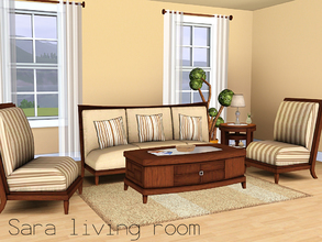 Sims 3 — Sara living room by spacesims — This is a traditional living room combining wooden furniture with soft fabrics.