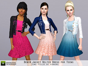 Sims 3 — Denim Jacket and Belted Ombre or Lace Dress for Teens by simromi — Classic denim jacket with bold stitching