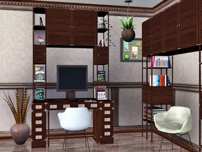 Sims 3 — Bradrick Study by Flovv — A wooden traditional (classical) style desk with shelves and cabinets even for modern