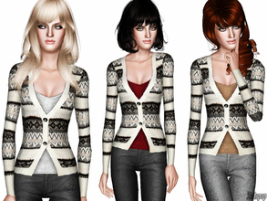Sims 3 — Scoop Neck Tee With Patterned Cardigan by zodapop — Classic knit patterning lends a timeless chic look to this