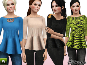 Sims 3 — Accessories Peplum Sweater by Harmonia — Custom Mesh By Harmonia 4 Variations. Recolorable