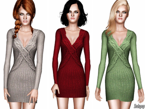 Sims 3 — Cable Knit Sweater Dress by zodapop — A defined cable knit pattern informs this ultra-chic sweater dress