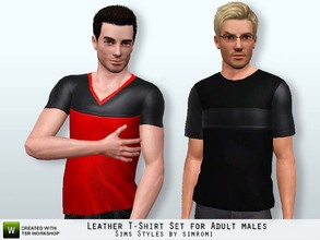 Sims 3 — Leather Tee Shirt Set for Adult Male by simromi — The blend of soft leather and cotton in a comfortable tee