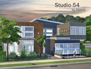 Sims 4 — Studio 54 by chemy — This Industrial loft style flat has vaulted ceilings in the living room and an open floor