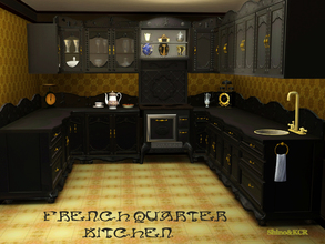 Sims 3 — French Quarter Kitchen by ShinoKCR — Elegant Kitchen for the French Quarter Series. Its has black lacked high