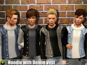 Sims 3 — Teen Hoodie with Denim Vest by Black_Lily — Hoodie with Denim Vest for teen guys Everyday/Outerwear Recolorable