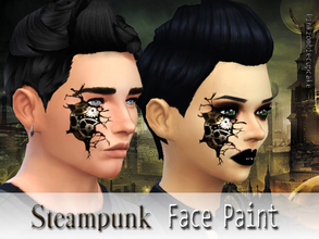 Sims 4 — Steampunk face paint by Pinkzombiecupcakes — This is a standalone creation with 2 swatches,in 2 versions with