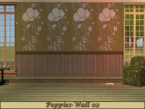 Sims 2 — Poppies-Olive Green Set - Wall 02 by allison731 — 2nd wall design with two laths on the bottom. Specifications: